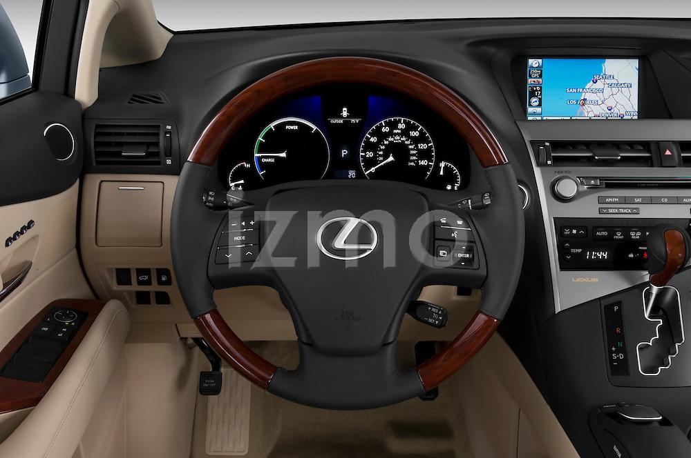 Steering wheel view of a 2010 Lexus RX 450h