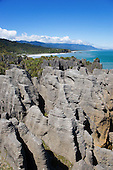Punakaiki rocks are made up of layers of lime & mud. Buller district, West Coast, South Island, New Zealand.