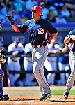 7 March 2010: Washington Nationals' infielder Mike Morse in action during a Spring Training game against the New York Mets at Tradition Field in Port St. Lucie, Florida. The Mets edged out the Nationals 6-5 in Grapefruit League pre-season play. Mandatory Credit: Ed Wolfstein Photo