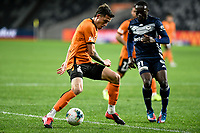 29th July 2020; Bankwest Stadium, Parramatta, New South Wales, Australia; A League Football, Melbourne Victory versus Brisbane Roar; Scott Neville of Brisbane Roar controls the ball under pressure from Adama Traore of Melbourne Victory