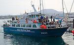 Tourist passenger glass bottom boat 'Majorero' at Corralejo, Fuerteventura, Canary Islands, Spain