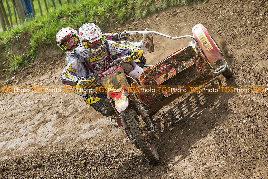 Stuart Brown and Josh Chamberlain on their way to victory in the opening moto  during ACU British Sidecar Cross Championship Round Three at Wattisfield Hall MX Track on 22nd May 2016
