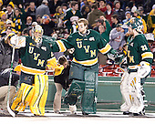 Rob Madore (Vermont - 29), John Vazzano (Vermont - 1), Alex Vazzano (Vermont - 33) - The University of Massachusetts (Amherst) Minutemen defeated the University of Vermont Catamounts 3-2 in overtime on Saturday, January 7, 2012, at Fenway Park in Boston, Massachusetts.