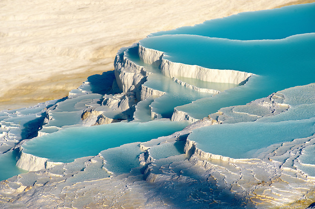 Photo & Image  of Pamukkale Travetine Terrace, Turkey. Images of the white Calcium carbonate rock formations. Buy as stock photos or as photo art prints. 3 Pamukkale travetine terrace water cascades, composed of white Calcium carbonate rock formations, Pamukkale, Anatolia, Turkey