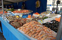Sea food stall at Bastille market in Paris.