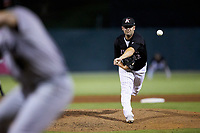 Kannapolis Intimidators relief pitcher Tyler Watson (12) in action against the Augusta GreenJackets at Kannapolis Intimidators Stadium on June 21, 2019 in Kannapolis, North Carolina. The Intimidators defeated the GreenJackets 6-1. (Brian Westerholt/Four Seam Images)