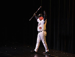 Kevin Cralle walks on stage as an Reno Aces player during the Sheep Dip 53 Show at the Eldorado Hotel & Casino on Friday night, Jan. 13, 2017.