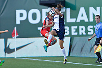 Portland, OR - Saturday July 22, 2017: Meghan Klingenberg, Havana Solaun during a regular season National Women's Soccer League (NWSL) match between the Portland Thorns FC and the Washington Spirit at Providence Park.