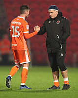 Blackpool's Jordan Thompson with Blackpools, Gary Brabin<br /> <br /> Photographer Rachel Holborn/CameraSport<br /> <br /> The EFL Sky Bet League One - Doncaster Rovers v Blackpool - Tuesday 27th November 2018 - Keepmoat Stadium - Doncaster<br /> <br /> World Copyright &copy; 2018 CameraSport. All rights reserved. 43 Linden Ave. Countesthorpe. Leicester. England. LE8 5PG - Tel: +44 (0) 116 277 4147 - admin@camerasport.com - www.camerasport.com