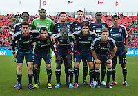 21 April 2012: The Chicago Fire starting eleven during a game between the Chicago Fire and Toronto FC at BMO Field in Toronto..The Chicago Fire won 3-2....
