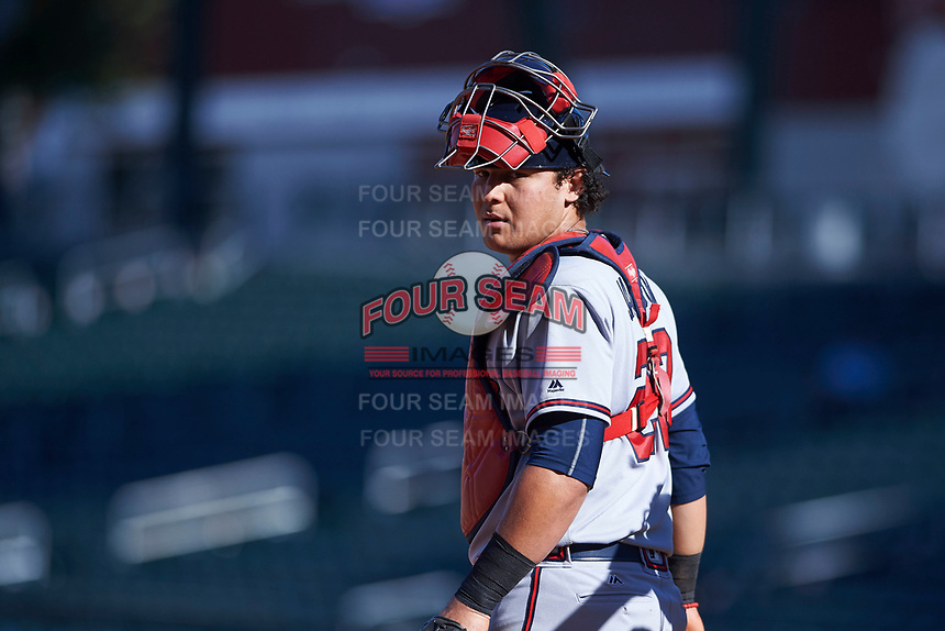 Peoria Javelinas catcher Alex Jackson (22), of the Atlanta Braves organization, during an Arizona Fall League game against the Mesa Solar Sox on October 25, 2017 at Sloan Park in Mesa, Arizona. The Solar Sox defeated the Javelinas 6-3. (Zachary Lucy/Four Seam Images)