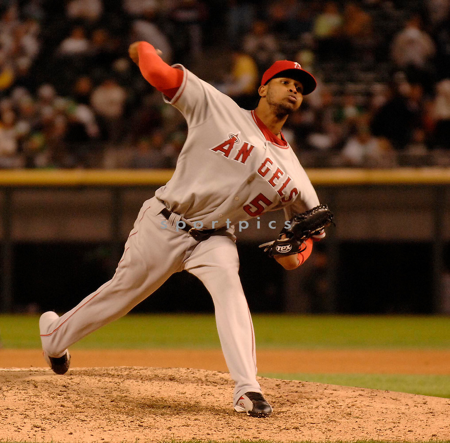 ERVIN SANTANA, of the Los Angeles Angels , in action during the Angels game against the  Chicago White Sox  in Chicago, IL on September 14, 2007...White Sox win 5-3..DAVID DUROCHIK / SPORTPICS.....
