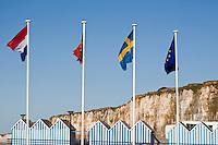 Europe/France/Normandie/Haute-Normandie/76/Seine-Maritime/ Saint-Valéry-en-Caux: les cabines de Plage et les Falaises de la Côte d'Albatre