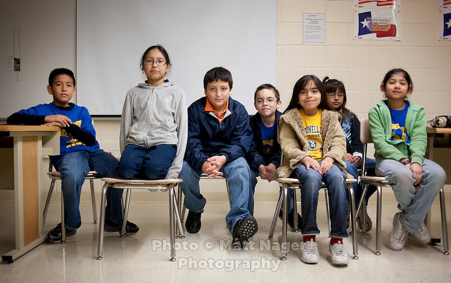 Fourth grade students at C. M. Macdonell Elementary School in Laredo, Texas, who wrote letters to the D. Dalton book store sompany asking to not have their bookstore, the only bookstore in town, close. With over 95 percent of the population as Hispanic Spanish speakers, Laredo ranked the lowest in literacy rates in the 2000 US census. Today there are a number of bi-lingual and dual langauge classes set up to help students and adults learn english...PHOTOS/ MATT NAGER
