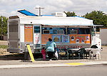 Galt CA, A mobile taco truck turns an empty lot into a sidewalk restaurant.