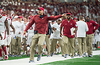 Hawgs Illustrated/Ben Goff<br /> Barry Lunney, Jr., Arkansas tight ends coach, in the 4th quarter vs Texas A&M Saturday, Sept. 29, 2018, during the Southwest Classic at AT&T Stadium in Arlington, Texas.