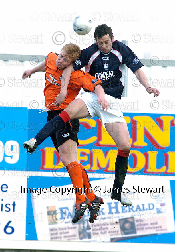 08/04/2006         Copyright Pic: James Stewart.File Name : sct_jspa06_falkirk_v_dundee_utd.BARRY ROBSON JACK ROSSS CHALLENGE FORTHE BALL.Payments to :.James Stewart Photo Agency 19 Carronlea Drive, Falkirk. FK2 8DN      Vat Reg No. 607 6932 25.Office     : +44 (0)1324 570906     .Mobile   : +44 (0)7721 416997.Fax         : +44 (0)1324 570906.E-mail  :  jim@jspa.co.uk.If you require further information then contact Jim Stewart on any of the numbers above.........