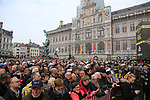 Huge crowd at the team presentation in Antwerp before the start of the 2019 Ronde Van Vlaanderen 270km from Antwerp to Oudenaarde, Belgium. 7th April 2019.<br /> Picture: Eoin Clarke | Cyclefile<br /> <br /> All photos usage must carry mandatory copyright credit (&copy; Cyclefile | Eoin Clarke)