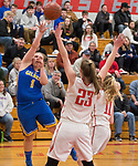 WINSTED,  CT-021919JS10- Gilbert's Jillian Wexler (1) puts up an off-balanced shot over Northwestern's Jana Sanden (23)  during their Berkshire League semi-final game Tuesday at Northwestern Regional High School in Winsted. <br /> Jim Shannon Republican American
