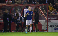 Everton's Lucas Digne celebrates scoring his side's equalising goal to make the score 1-1<br /> <br /> Photographer Chris Vaughan/CameraSport<br /> <br /> The Carabao Cup Second Round - Lincoln City v Everton - Wednesday 28th August 2019 - Sincil Bank - Lincoln<br />  <br /> World Copyright © 2019 CameraSport. All rights reserved. 43 Linden Ave. Countesthorpe. Leicester. England. LE8 5PG - Tel: +44 (0) 116 277 4147 - admin@camerasport.com - www.camerasport.com