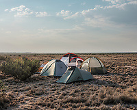 The campground at the Spaceport America Cup near the town of Truth or Consequences, New Mexico, Friday, June 23, 2017. The International Intercollegiate Rocket Engineering Competition hosted over 110 teams from colleges and universities in eleven countries. Students launched solid, liquid, and hybrid rockets to target altitudes of 10,000 and 30,000 feet. The 2017 Spaceport America Cup winner was the University of Michigan, Ann Arbor, Team 79.<br /> <br /> Photo by Matt Nager