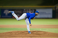 AZL Cubs relief pitcher Emilio Ferrebus (43) follows through on his delivery during Game Three of the Arizona League Championship Series against the AZL Giants on September 7, 2017 at Scottsdale Stadium in Scottsdale, Arizona. AZL Cubs defeated the AZL Giants 13-3 to win the series two games to one. (Zachary Lucy/Four Seam Images)