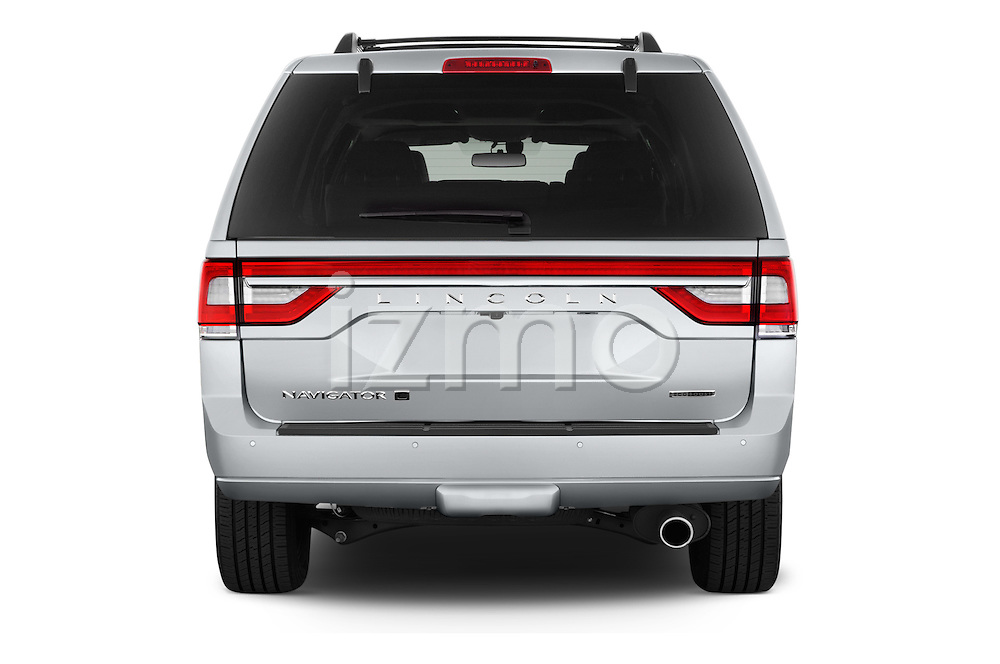Straight rear view of2015 Lincoln Navigator Select 5 Door SUV Rear View  stock images