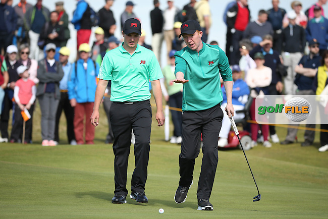 Team work despite being behind for Jack Hume (IRL)/ and gm/ during Sunday morning Foursome matches of The Walker Cup 2015 played at Royal Lytham and St Anne's, Lytham St Anne's, Lancashire, England. 13/09/2015. Picture: Golffile | David Lloyd<br /> <br /> All photos usage must carry mandatory copyright credit (&copy; Golffile | David Lloyd)