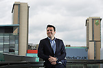 © Joel Goodman - 07973 332324 . 19/05/2016 . Salford , UK . Shadow Home Secretary ANDY BURNHAM MP poses for photos on a balcony after launching his campaign to be the Labour Party's candidate for Mayor of Greater Manchester , from The Compass Room at The Lowry Theatre in Salford . Photo credit : Joel Goodman