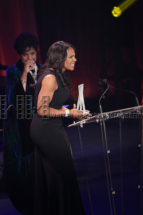Phylicia Rashad and Audra McDonald onstage during the Roundabout Theatre Company's  50th Anniversary Gala at The Waldorf-Astoria on February 29, 2016 in New York City.