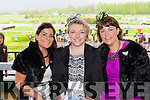 Christine O'Hanlon Ballymac, Koren O'Brien Tralee and Aoife O'Hanlon Ballymac dressed to impress at the Killarney Races on Sunday