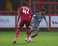 Lincoln City's Liam Bridcutt vies for possession with Accrington Stanley's Sadou Diallo<br /> <br /> Photographer Andrew Vaughan/CameraSport<br /> <br /> The EFL Sky Bet League One - Accrington Stanley v Lincoln City - Saturday 15th February 2020 - Crown Ground - Accrington<br /> <br /> World Copyright © 2020 CameraSport. All rights reserved. 43 Linden Ave. Countesthorpe. Leicester. England. LE8 5PG - Tel: +44 (0) 116 277 4147 - admin@camerasport.com - www.camerasport.com