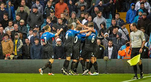 09.04.2016. Villa Park, Birmingham, England. Barclays Premier League. Aston Villa versus Bournemouth. Bournemouth players celebrate their 2nd goal taking them 2-0 up.