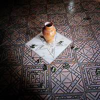 The five basic elements; water, fire, earth, wind and peace are written on the floor of a Candomble Terreiro (Temple).