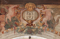 Detail of fresco in the Ballroom or Galerie Henri II, with a letter, possibly H for Henri, or C for Catherine de Medicis or D for Diane de Poitiers, mistress of the King, at the Chateau de Fontainebleau, France. The Palace of Fontainebleau is one of the largest French royal palaces and was begun in the early 16th century for Francois I. It was listed as a UNESCO World Heritage Site in 1981. Picture by Manuel Cohen