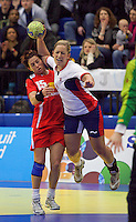 31 MAR 2010 - LONDON, GBR - Britains Britt Goodwin (#9) shoots during the Great Britain v Iceland 2010 European Womens Handball Championships qualifier (PHOTO (C) NIGEL FARROW)