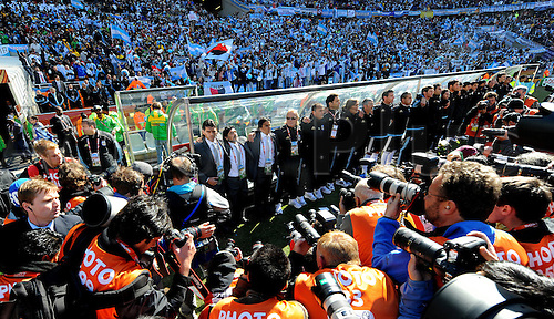 Diego Maradona, coach of Argentina and his team attend the FIFA World Cup 2010 soccer match between Argentina and South Korea at the Soccer City Stadium on June 17, 2010 in Johannesburg, South Africa.