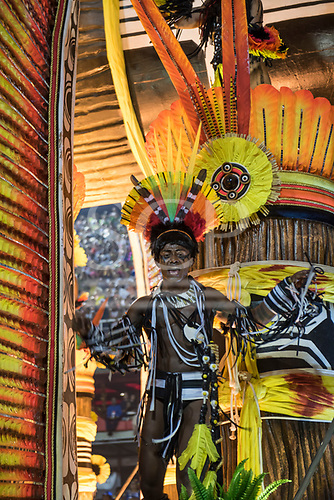 Imperatriz Leopolinense Samba School, Carnival, Rio de Janeiro, Brazil, 26th February 2017. samba dancers dressed as Indians on the Alto Xingu float with samba dancers dressed as Indians.