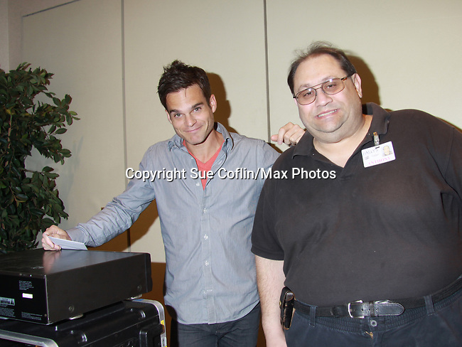 """The Young & The Restless star Greg Rikaart checks out sound systen at  Genoa City Conversations (Q&A) which was held with each actor on 3/24 at the Soap Opera Festivals Weekend - """"All About The Drama"""" on March 24, 2012 at Bally's Atlantic City, Atlantic City, New Jersey. (Photo by Sue Coflin/Max Photos)"""