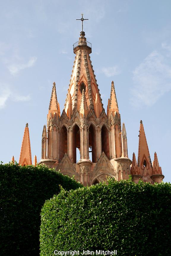Steeple of the Parroquia de San Miguel Acangel parish church from above,  San Miguel de Allende, Mexico. San Miguel de Allende is a UNESCO World Heritage Site...