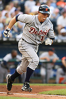 Detroit Tigers Brandon Inge blows a bubble as he runs for first in the game against the Royals at Kauffman Stadium in Kansas City, Missouri on May 5, 2007.