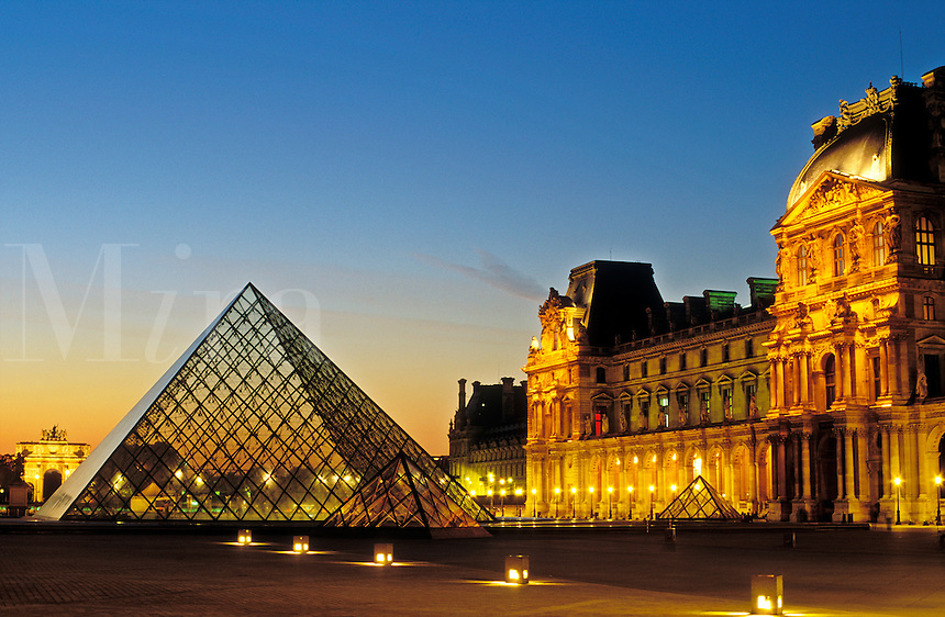 France, Paris, The Louvre and Pyramid by I M Pei