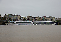 General view of the AmaWaterways cruise ship S.S. AmaDolce berthed on the River Garonne, Bordeaux, Nouvelle-Aquitaine, France on 16.10.19.