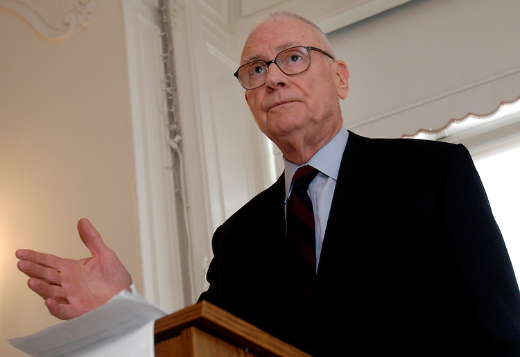 Former Rep. Lee Hamilton speaks on terrorism and defense challenges at the Helen Dwight Reid Foundation..