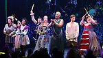Tom Alan Robbins, Alexandra Socha, Taylor Iman Jones, Jeremy Kushnier, Rachel York, Peppermint, Andrew Durand, Bonnie Milligan and cast perform during a special curtain call at Broadway's 'Head Over Heels' on July 12, 2018 at the Hudson Theatre in New York City.