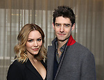 "Katharine McPhee and costar Drew Gehling during the Katharine McPhee joins the Broadway cast of ""Waitress"" photocall at the Knickerbocker Hotel's St. Cloud Bar on 3/29/2018 in New York City."