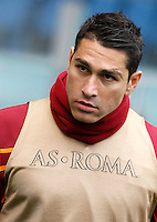 Calcio, Serie A: Roma-Genoa. Roma, stadio Olimpico, 12 gennaio 2014.<br /> AS Roma forward Marco Borriello warms up prior to the start of the Italian Serie A football match between AS Roma and Genoa, at Rome's Olympic stadium, 12 January 2014. <br /> UPDATE IMAGES PRESS/Isabella Bonotto