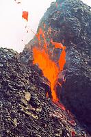 spatter cone and ribbon of lava, West pit gap area on west side of Pu'u o'o vent, Hawaii Volcanoes National Park, Kilauea, Big Island, Hawaii, USA