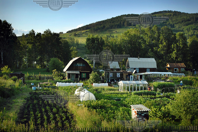 Smallholdings and countryside on the outskirts of Abakan.