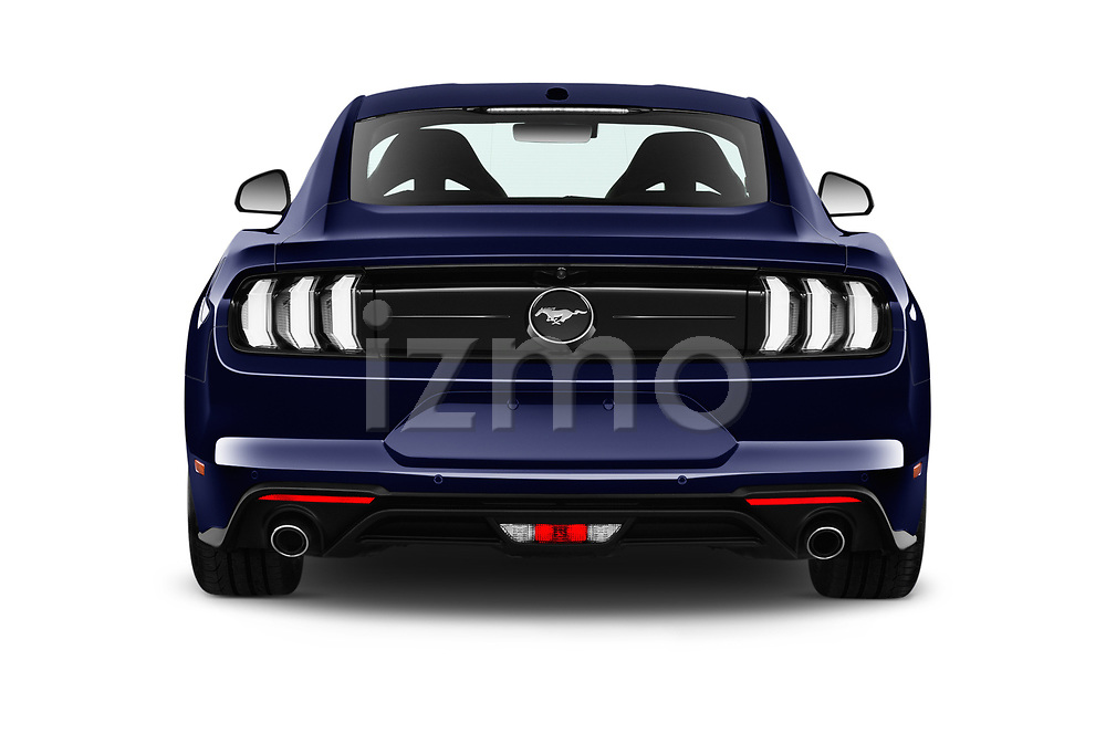 Straight rear view of a 2018 Ford Mustang Fastback Ecoboost 2 Door Coupe stock images